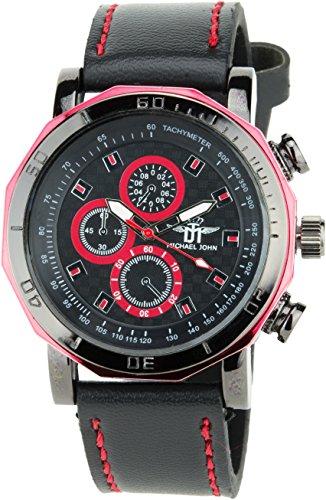 MICHAEL JOHN Herren Armbanduhr schwarz rot Quarz Stahl Analog Display Typ stilvoll Sport Modus Armband schwarz Kunstleder