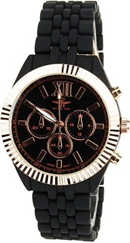MICHAEL JOHN schwarz Gold Rosa Quarz Stahl Analog Display Typ stilvoll Sport Modus Armband schwarz PVC