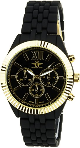 MICHAEL JOHN schwarz Gold Quarz Stahl Analog Display Typ stilvoll Sport Modus Armband schwarz PVC