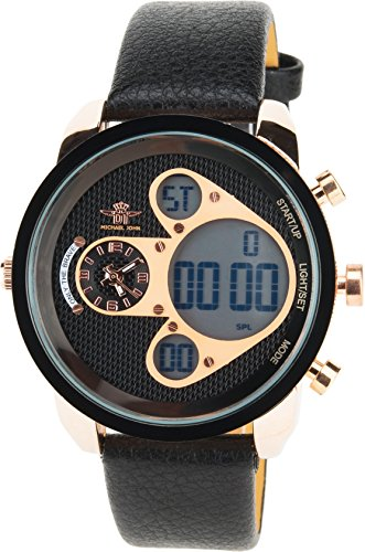 MICHAEL JOHN schwarz Gold Quarz Stahl Analog Digital Display Typ Alarm Chronometer Zwei ZeitzonenSport Modus Armband schwarz Leder