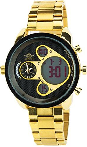 MICHAEL JOHN schwarz Gold Quarz Stahl Analog Digital Display Typ Alarm Chronometer Zwei ZeitzonenSport Modus Armband OR Stahl