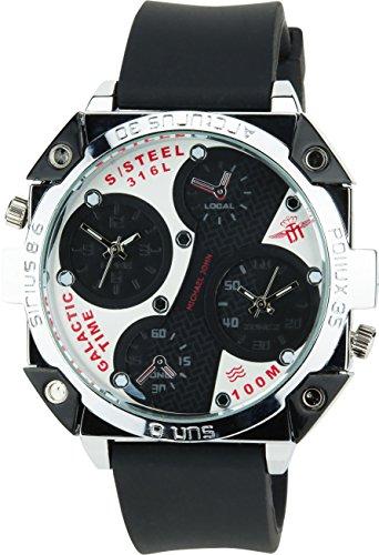 MICHAEL JOHN schwarz weiss Quarz Stahl Analog Display Typ Zwei Zeitzonenstilvoll Sport Modus Armband schwarz Silikon