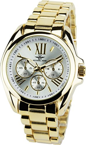 MICHAEL JOHN Silber Gold Quarz Stahl Analog Display Typ stilvoll Sport Modus Armband Gold Stahl