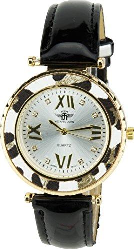 MICHAEL JOHN Damen Armbanduhr Silber Quarz Stahl Analog Display Typ stilvoll sport Mode Armband schwarz Kunstleder