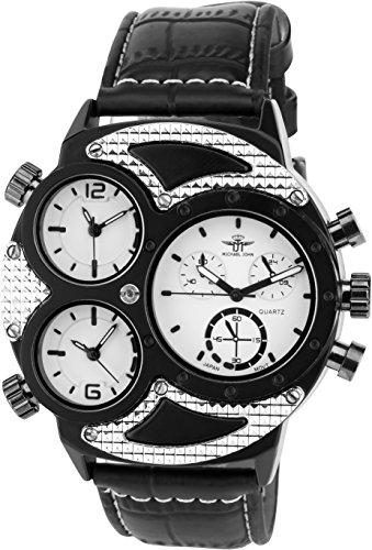 MICHAEL JOHN Herren Armbanduhr weiss schwarz Quarz Stahl Analog Display Typ stilvoll Sport Modus Dreifach Zeitzone Armband schwarz Kunstleder