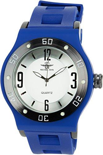 MICHAEL JOHN weiss Quarz Stahl Analog Display Typ stilvoll Sport Modus Armband blau Silikon