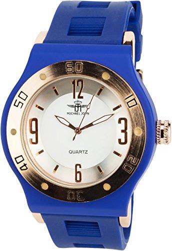 MICHAEL JOHN Herren Armbanduhr weiss Gold Quarz Stahl Analog Display Typ stilvoll Sport Modus Armband blau Silikon