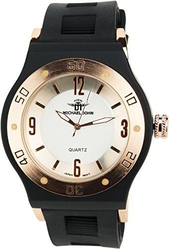 MICHAEL JOHN weiss Gold Quarz Stahl Analog Display Typ stilvoll Sport Modus Armband schwarz Silikon
