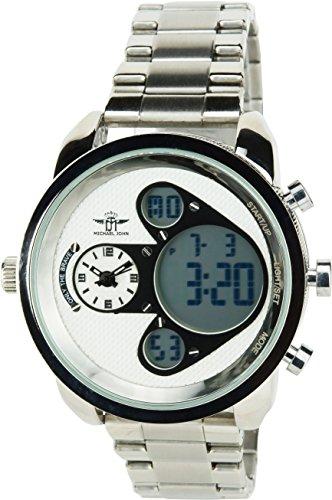MICHAEL JOHN weiss schwarz Quarz Stahl Analog Digital Display Typ Alarm Chronometer Zwei ZeitzonenSport Modus Armband Silber Stahl