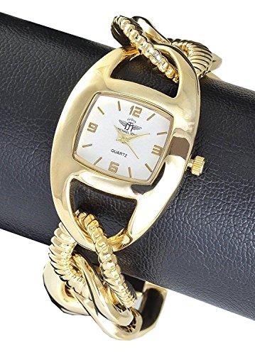 Michael John Damenuhr Silber Gold Analog Metall Armbanduhr Quarz Uhr