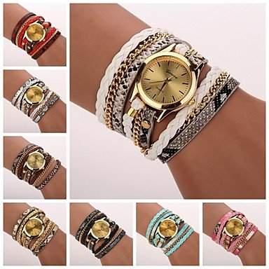 Bheema Frauenleopardkorn gewebt Luxus-Marke Quarzarmbanduhr Uhren farblich sortiert c&d-120-White