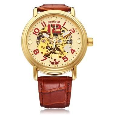 Bheema Sewor Automatic Number Brown PU Leather Mechanical Men Wrist Watch