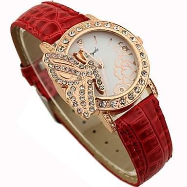 Bheema Frauen shinning Design mit Schmetterling-Muster PU-Band Analog Quarzarmbanduhr Mode Uhr-Red