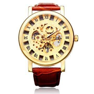 Bheema Sewor Brown PU Leather Automatic Mechanical Roman Skeleton Men Watch