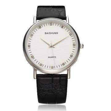 Bheema Fashion BAISHUNS Big Dial PU Leather Men Women Wrist Quartz Watch