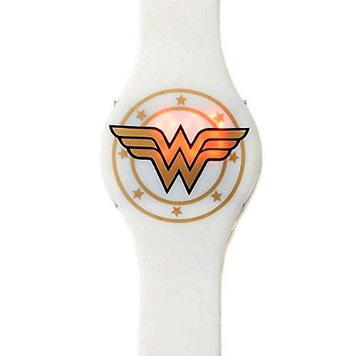 Offizielle Wonder Woman Weissgold Emblem LED Armbanduhr