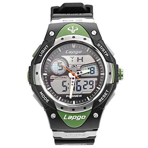 Tinksky PASNEW wasserdichte Unisex jungen Maedchen Dual Time Sport LED Digital Quarz Armbanduhr mit Datum Alarm Stoppuhr gruen