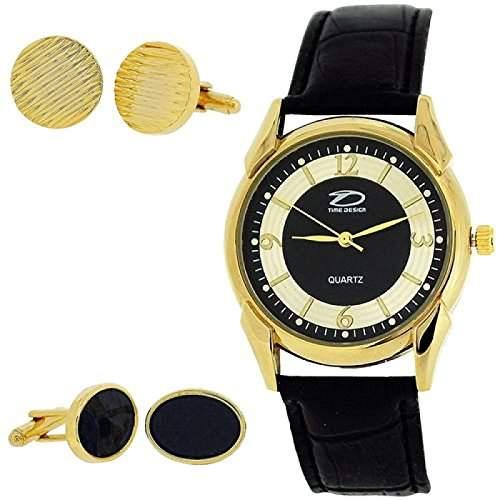 Time Design Herren Analoguhr & zwei Paar Manschettenknoepfe TDX0713G30