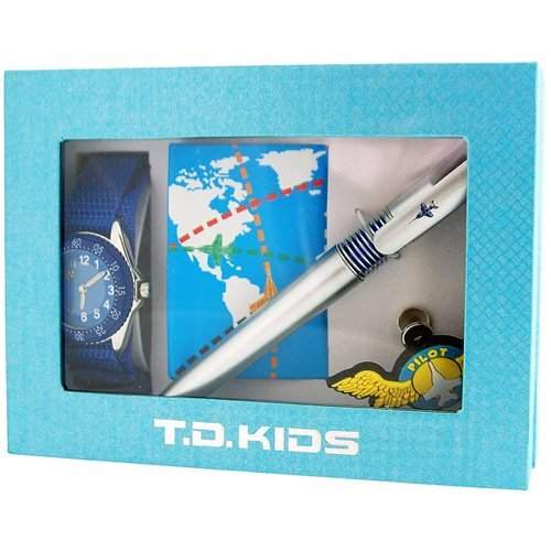 Time Design Jungenuhr Pilotendesign, Abzeichen, Stift & Notizbuch Set TDX07135S