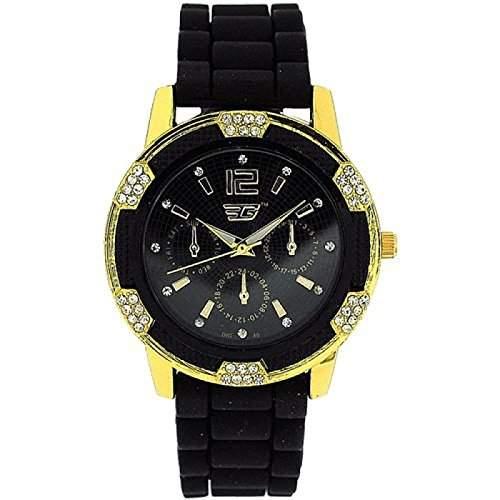 GOLDDIGGA Damen-Armbanduhr mit Chronoeffekt, Cubic Zirkonia besetzter Luenette und schwarzem Silikon-Armband DIG40B
