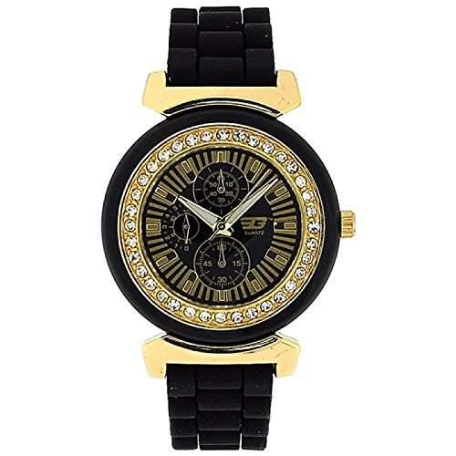 GOLDDIGGA Damen-Armbanduhr mit Chrono-Effekt, Cubic Zirkonia besetzter Luenette und schwarzem Silikonarmband DIG41A