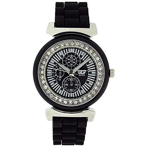 GOLDDIGGA Damen-Armbanduhr mit Chronoeffekt, Cubic Zirkonia besetzter Luenette und schwarzem Silikon-Armband DIG41B