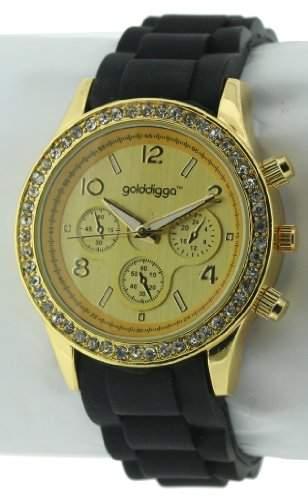 GOLDDIGGA Damen-Armbanduhr Analog Silikon Schwarz DIG43A