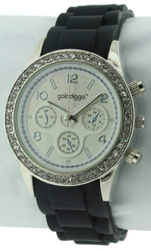 GOLDDIGGA Damen-Armbanduhr Analog Silikon Schwarz DIG43D
