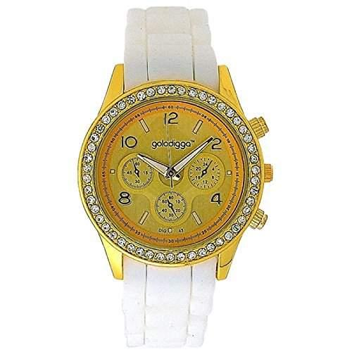 GOLDDIGGA Damen-Armbanduhr mit Chrono-Effekt, Cubic Zirkonia besetzter Luenette und weissem Silikonarmband DIG43B