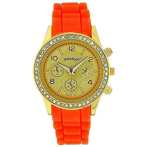 GOLDDIGGA Damen-Armbanduhr mit Chrono-Effekt, Cubic Zirkonia besetzter Luenette und orangefarbenem Silikonarmband DIG43C