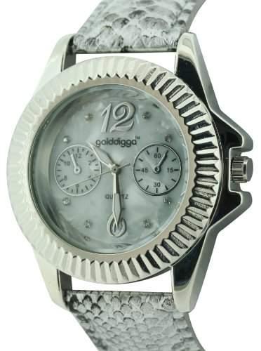 WomenGolddigga Damen Armbanduhr Analog silber PU Strap DIG54A