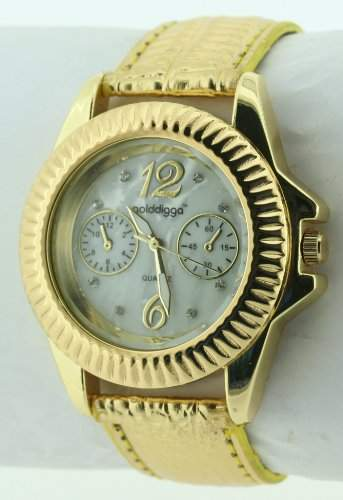 GOLDDIGGA Damen-Armbanduhr Analog Kunststoff Gold DIG54B