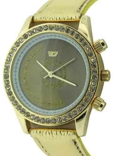 WomenGolddigga Damen-Armbanduhr Analog Quarz Gold PU Strap DIG55B