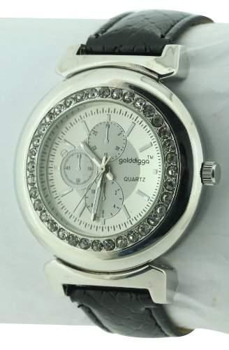 GOLDDIGGA Damen-Armbanduhr Analog Kunststoff Schwarz DIG59A