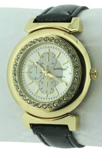 GOLDDIGGA Damen-Armbanduhr Analog Kunststoff Schwarz DIG59B