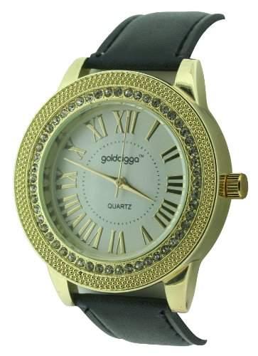 golddigga womenQuarz-Uhr mit weissem Zifferblatt Analog-Anzeige und Schwarz-andere DIG74B