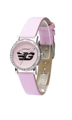 Golddigga Damenuhr mit glitzernden Steinchen und rosa Armband GLD-700023
