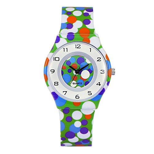 Zeiger a2z017 Damen Maedchen leicht duenn Kleid Armbanduhr mit Fashion Weich Silikon Band Polka Dot