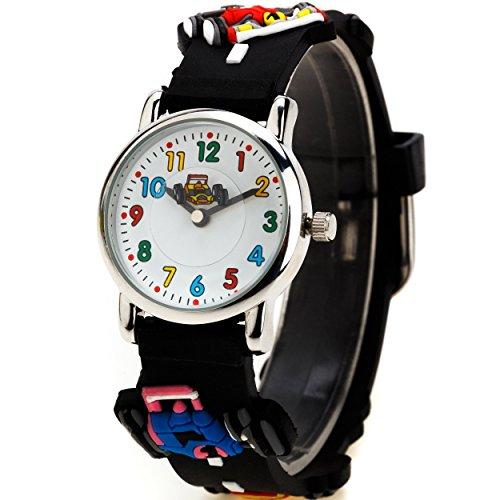 Zeiger Kinderuhr Lernuhr Autosport Jungen Kinder Uhr Schwarz Armbanduhr KW001