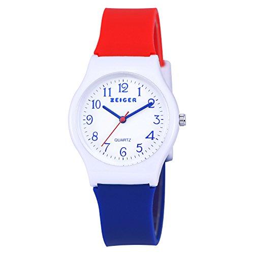 Zeiger Kinderuhr Lernuhr Maedchen Jungen Uhren Sportlich Kinder Uhr Silikon Armbanduhr KW039