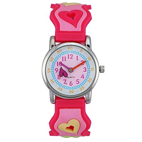 Zeiger Kinderuhr Lernuhr Herzform Kinder Uhr Rosa Armbanduhr KW005