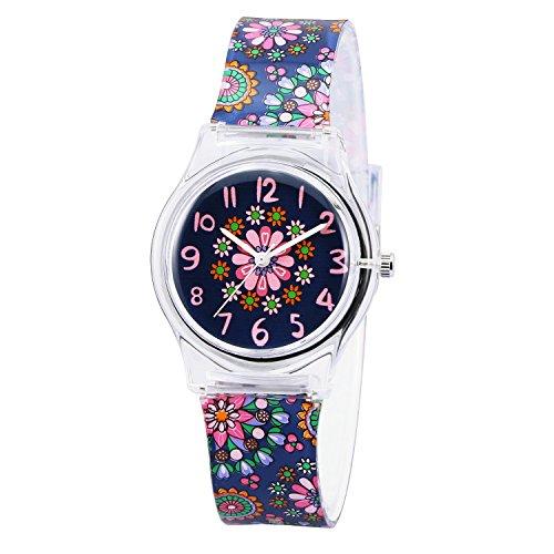 Zeiger Kinderuhr Blumen Quarz Maedchen Uhr Armband Lernuhr Silikon KW013