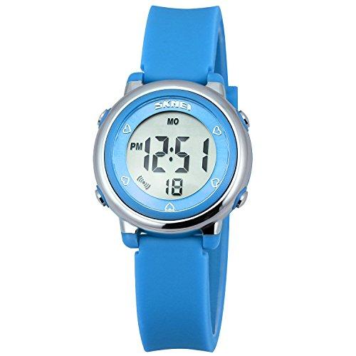 Zeiger Kinderuhr Jungen Maedchen Uhr Sport Armbanduhr 6 Farbe Licht Datum Chronograph KW028
