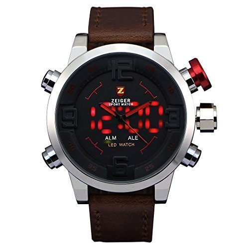 Zeiger Herren W296 Big Face LED Dual Time Marine Corps Edelstahl Military Digital Analog Vietnam Sport Armbanduhr Leder Band Special Forces Swiss Army Geschenk fuer Dad fuer Freund