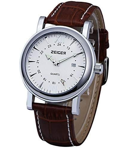 Zeiger Herren-Armbanduhr W306Edelstahl-Gehäuse, Braunes Lederband