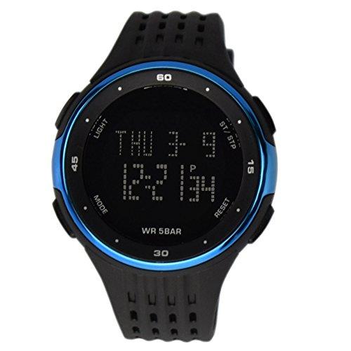 ZEIGER Sport Armbanduhr Digital Silikon Schwarz Blau Alarm Licht Datum Doppelzeit W377
