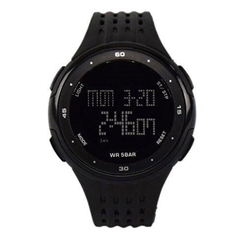 ZEIGER Sport Armbanduhr Digital Silikon Schwarz Alarm Licht Datum Doppelzeit W376
