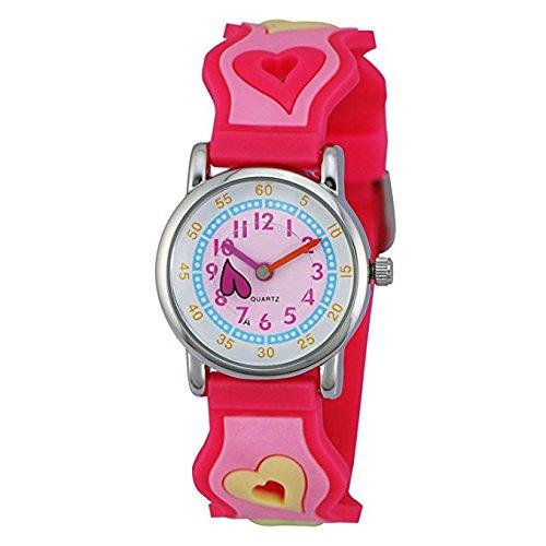 ZEIGER Erste Armbanduhr zum Uhrenlesen Lernen fuer kleine fuer Kinder Cartoon Stil mit 3D Herz und pinkem Uhrenarmband
