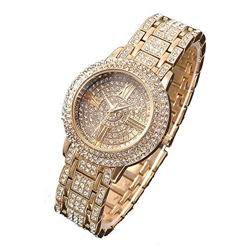 Zeiger Analog Quarz Strass Armband Armbanduhren Gold W192