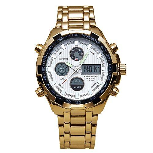 ZEIGER Digital Analog Gold Edelstahl Datum Licht Alarm W363